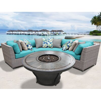 Florence Outdoor 4 Piece Wicker Sectional Set with Cushions Cushion Color: Aruba