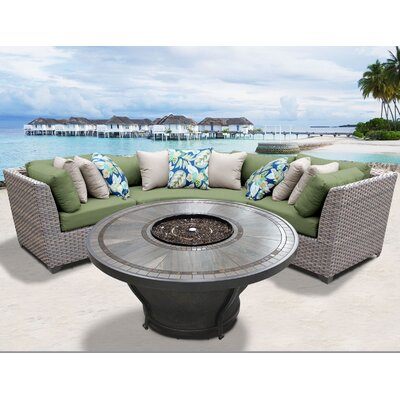 Florence Outdoor 4 Piece Wicker Sectional Set with Cushions Cushion Color: Cilantro