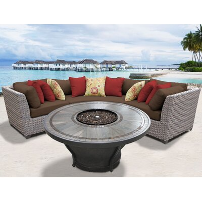 Florence Outdoor 4 Piece Wicker Sectional Set with Cushions Cushion Color: Cocoa