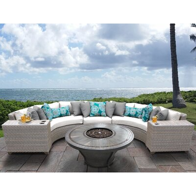 Florence Outdoor 6 Piece Wicker Sectional Set with Cushions Cushion Color: Sail White