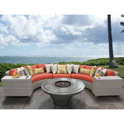 Florence Outdoor 6 Piece Wicker Sectional Set with Cushions Cushion Color: Tangerine