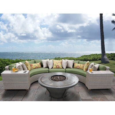 Florence Outdoor 6 Piece Wicker Sectional Set with Cushions Cushion Color: Cilantro