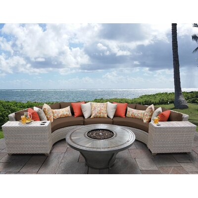 Florence Outdoor 6 Piece Wicker Sectional Set with Cushions Cushion Color: Cocoa