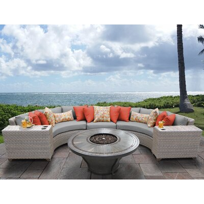 Florence Outdoor 6 Piece Wicker Sectional Set with Cushions Cushion Color: Gray