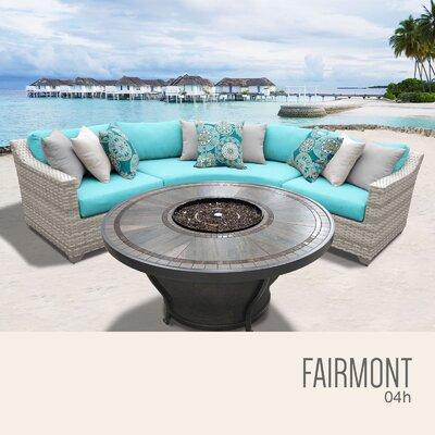Fairmont Wicker Sectional with Cushions Fabric: Aruba