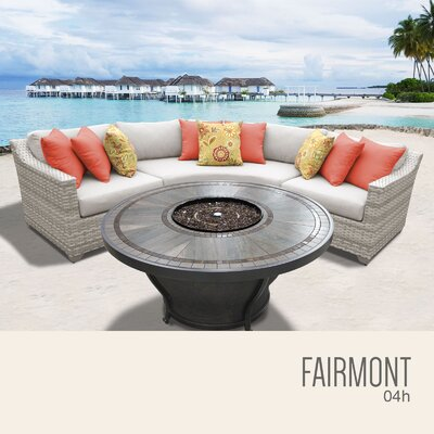 Fairmont Wicker Sectional with Cushions Fabric: Beige