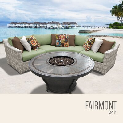Fairmont Wicker Sectional with Cushions Fabric: Cilantro