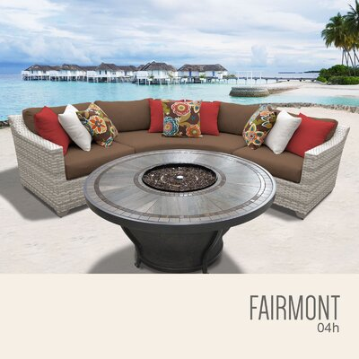 Fairmont Wicker Sectional with Cushions Fabric: Cocoa