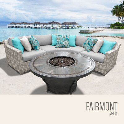 Fairmont Wicker Sectional with Cushions Fabric: Gray