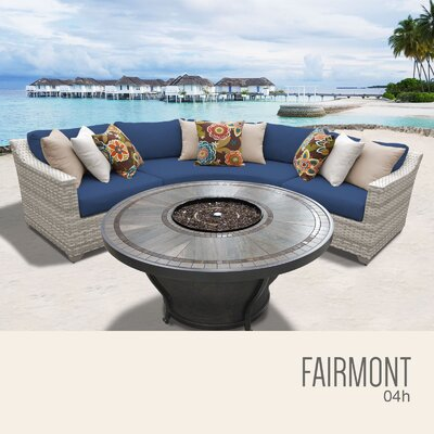 Fairmont Wicker Sectional with Cushions Fabric: Navy