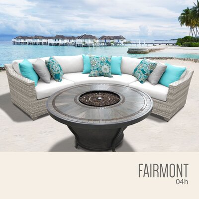 Fairmont Wicker Sectional with Cushions Fabric: Sail White