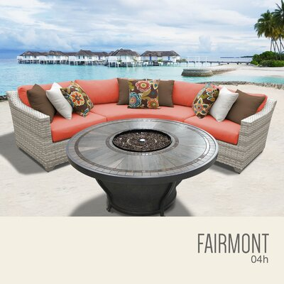 Fairmont Wicker Sectional with Cushions Fabric: Tangerine