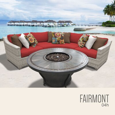 Fairmont Wicker Sectional with Cushions Fabric: Terracotta