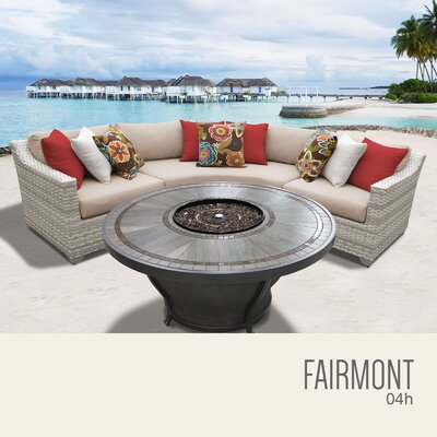 Fairmont Wicker Sectional with Cushions Fabric: Wheat
