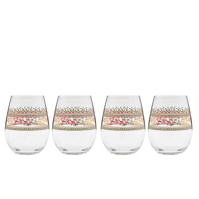 Holiday Decor Stemless 15 Oz. Wine Glass