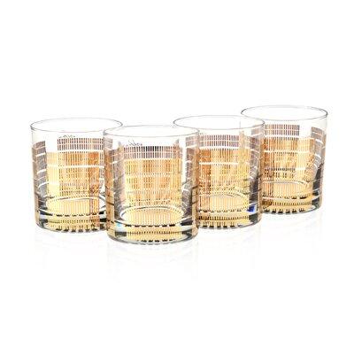 Striped 11 Oz. Old Fashion Gold 22K Glass S4/61-STRIPED