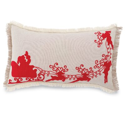 Santa Sleigh Cotton Lumbar Pillow