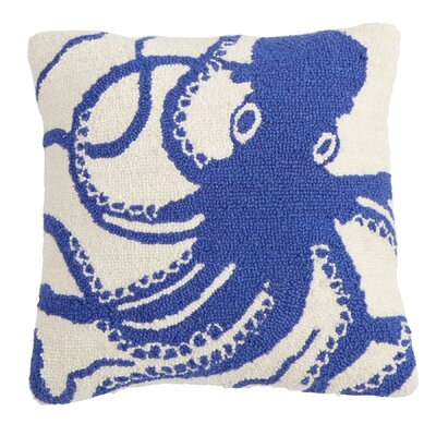 Octopus Hooked Wool Throw Pillow