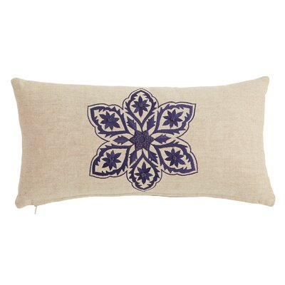 Floral Embroidered Lumbar Pillow