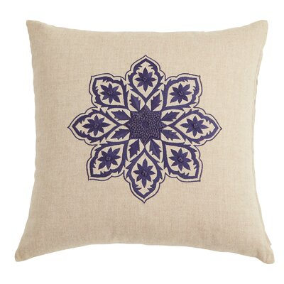 Chambray Floral Embroidered Throw Pillow
