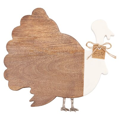 Thanksgiving Wood and Enamel Turkey Cheese Board 4751132