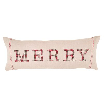 Tartan Applique Holiday Accent Lumbar Pillow