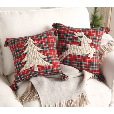 Tartan with Cable Knit Applique Insert in Reindeer Tree Throw Pillow