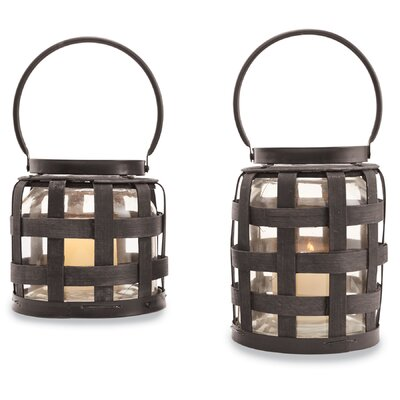 Strapping Wood/Glass Lantern Size: Small 4264545S