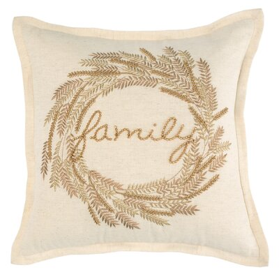 Family Beaded Cotton Throw Pillow