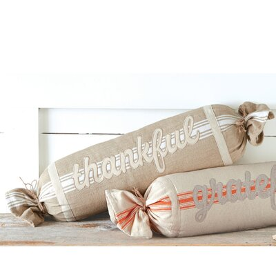 Thankful Grain Sack Cotton Bolster Pillow