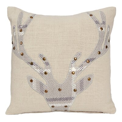 Applique Deer Rustic Lodge Plaid Cotton Throw Pillow
