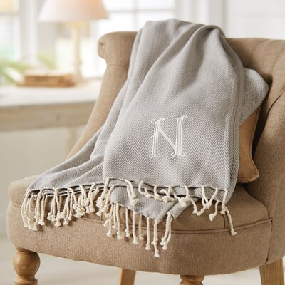 Herringbone Initial Throw Letter: N