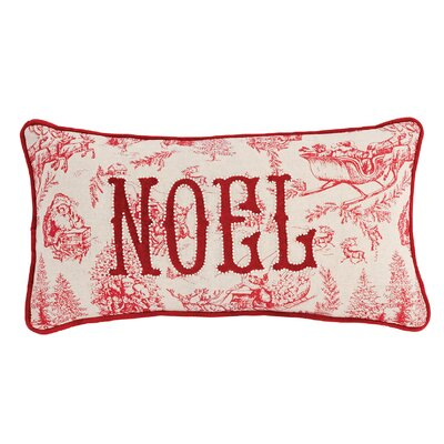 Noel Toile Christmas Cotton Lumbar Pillow