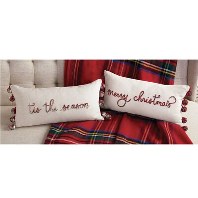 Tartan Pom Pom Christmas 100% Cotton Lumbar Pillow