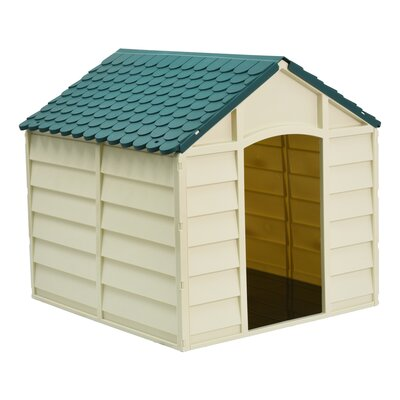Dog House Size: 32.3 H x 33.1 W x 33.8 D, Color: Beige/Green