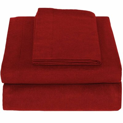 Super Soft 100% Cotton Flannel Sheet Set Size: King, Color: Red