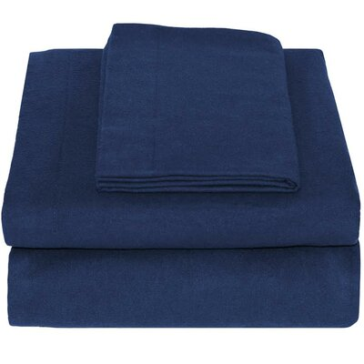 Super Soft 100% Cotton Flannel Sheet Set Size: Queen, Color: Dark Blue