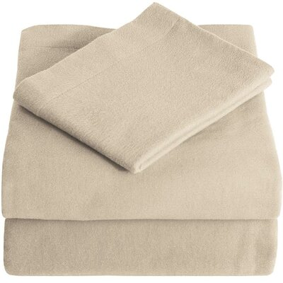 Super Soft 100% Cotton Flannel Sheet Set Size: Split King, Color: Sand