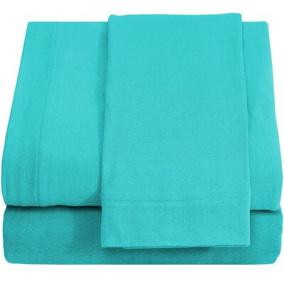 Ivy Union Jersey 100% Cotton Twin XL Sheet Set Color: Turquoise