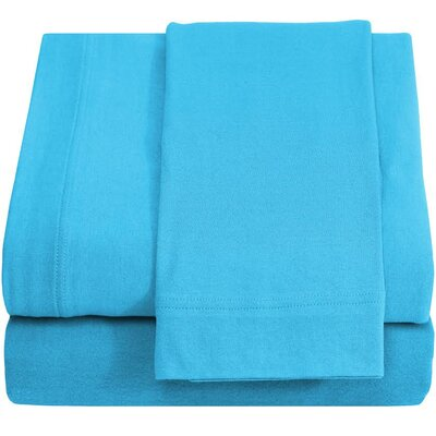 Ivy Union Jersey 100% Cotton Twin XL Sheet Set Color: Aqua