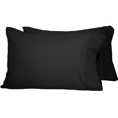 Premium Ultra-Soft Microfiber Solid Pillow Case Color: Black, Size: Standard