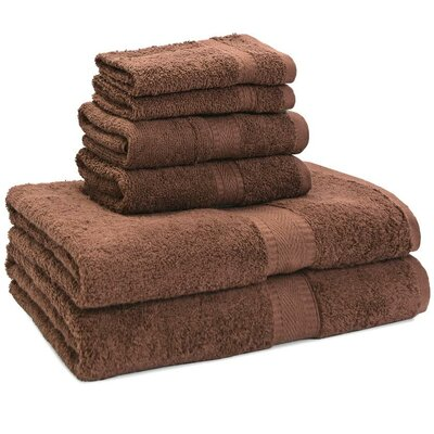 100% Egyptian Quality Cotton Premium 6 Piece Towel Set Color: Taupe