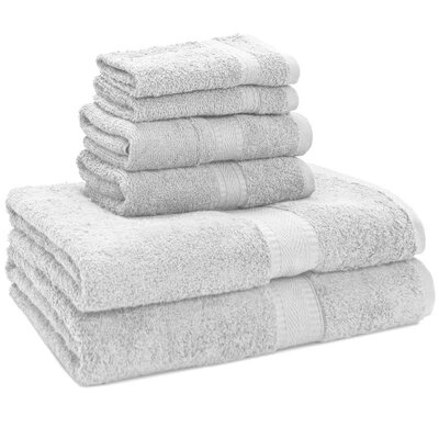 100% Egyptian Quality Cotton Premium 6 Piece Towel Set Color: White