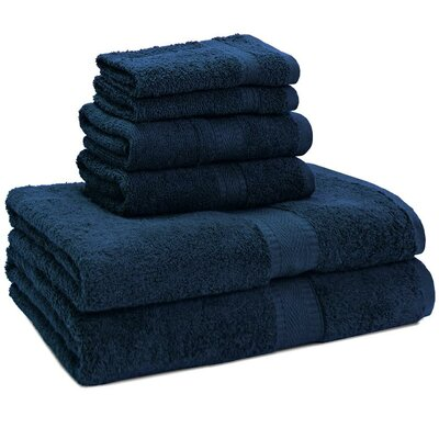 100% Egyptian Quality Cotton Premium 6 Piece Towel Set Color: Dark Blue