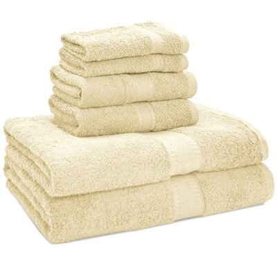 100% Egyptian Quality Cotton Premium 6 Piece Towel Set Color: Cream