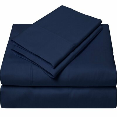 300 Thread Count Egyptian Quality Cotton Sheet Set Size: Queen, Color: Navy Blue