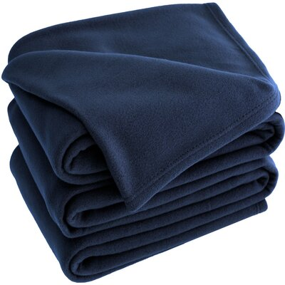 Polar Fleece Blanket Color: Dark Blue, Size: Throw