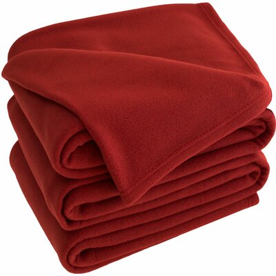 Polar Fleece Blanket Size: Queen, Color: Red