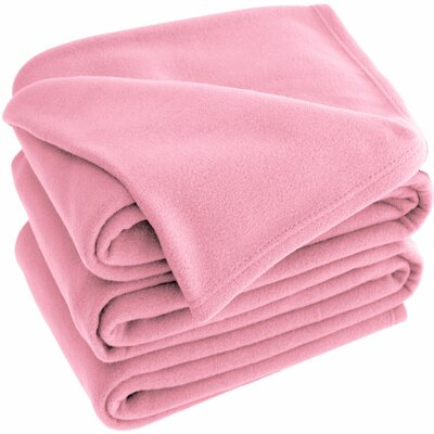 Polar Fleece Blanket Color: Light Pink, Size: Queen