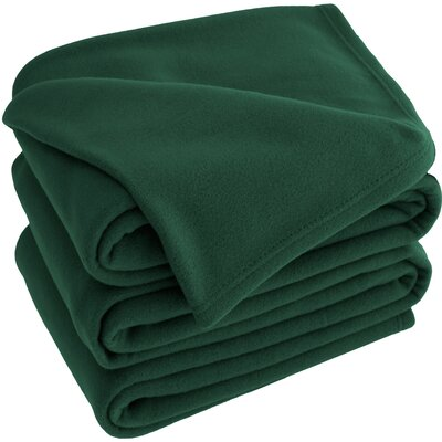 Polar Fleece Blanket Color: Forest Green, Size: King
